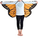 Faschingskostüme Schmetterling Schal Mädchen Karneval Kostüm Schmetterlingsflügel feenhafte Nymphe Pixie Halloween Cosplay Kinder Schmetterlingsf Cosplay Butterfly Wings Flügel Schal LMMVP (Orange) Test