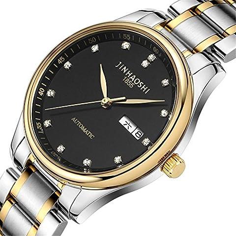 Reloj Relojes maquinaria automática de hombres perforados a escala de diamante doble calendario comercial relojes , 4