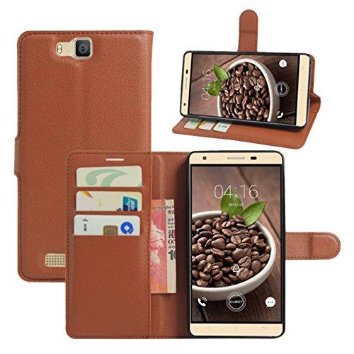 HualuBro Cubot H2 Hülle, [All Aro& Schutz] Premium PU Leder Leather Wallet HandyHülle Tasche Schutzhülle Case Flip Cover mit Karten Slot für Cubot H2 5.5 Inch Smartphone (Braun)