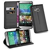 Cadorabo Hülle für HTC One M9 (3. Gen.) Hülle in Phantom schwarz Handyhülle mit Kartenfach und Standfunktion Case Cover Schutzhülle Etui Tasche Book Klapp Style Phantom-Schwarz