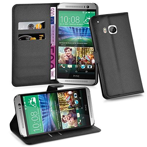 Cadorabo Hülle für HTC One M9 (3. Gen.) Hülle in Phantom schwarz Handyhülle mit Kartenfach & Standfunktion Case Cover Schutzhülle Etui Tasche Book Klapp Style Phantom-Schwarz