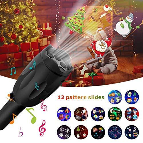 Luci natalizie, proiettore portatile led christmas lights 12 vetrini proiezione con treppiedi torcia portatile per natale di compleanno