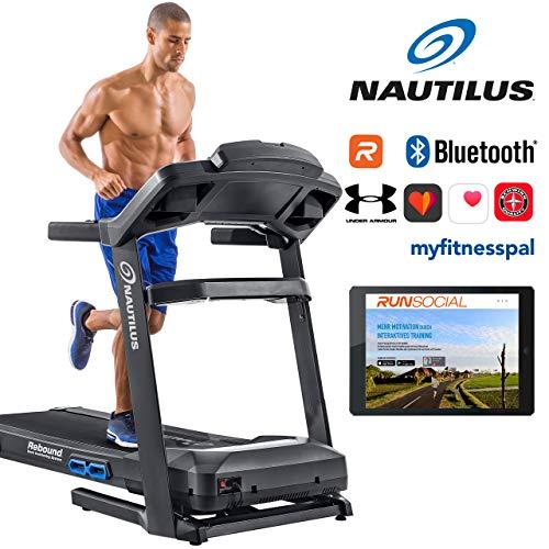 Nautilus Laufband T628 - 3, 5 PS Motor - Geschwindigkeit: 0.8 - 20 km/h - Steigung: 0 - 15 {08533547a1d0b9b14caa28b7cbd1f5835e78a813ac3261ce7ba24162d85daef1} - Soft-drop-Klappsystem - RunSocial kompatibel - Laufmatte 3ply