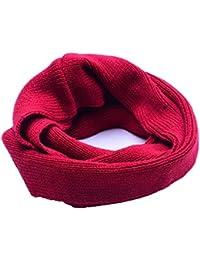 Butterme Invierno Bebé Niñas Niños Caliente Punto Infinito Loop Bufanda Ganchillo Pañuelo Snood Cuello Calentador(Rojo)