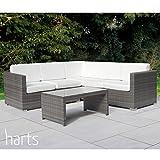Harts Large Comfortable Corner Rattan sofa Garden Patio Furniture Outdoor & Indoor (Grey 218 x 218cm)