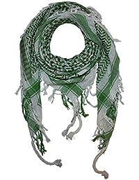 Superfreak® Pañuelo pali con color de base blanco°chal PLO°100x100 cm°Pañuelo palestino Arafat°100% algodón – blanco/verde-verde oliva