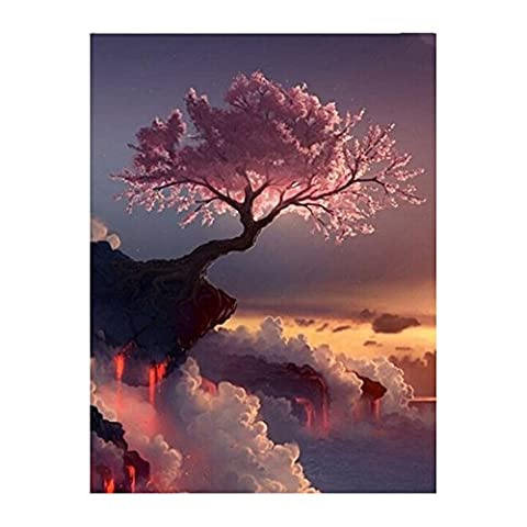 EXIU 5D DIY Fleur de Cerisier Diamant Peinture Point de Croix Kit Maison Decor Mur