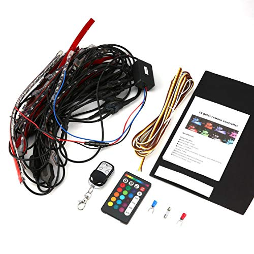 Universal 8pcs 12V 14W moto bande de lumière RGB LED queue Glow Light Kit flexible avec télécommande multi couleur - multicolore