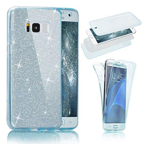Samsung Galaxy S8 360 Grad Hülle, Samsung Galaxy S8 Hülle Glitzer, Ultra Dünn Liquid Crystal Glänzende Soft-Flex Handyhülle Bumper Style Premium TPU Silikon Perfekte Passform Schutzhülle für Samsung Galaxy S8 (5,8 zoll) Case Cover Touchscreen Dünne Handy