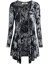 DJT Damen Langarmshirt Tie-Dye V-Neck Strickjacken Jersey Outfit
