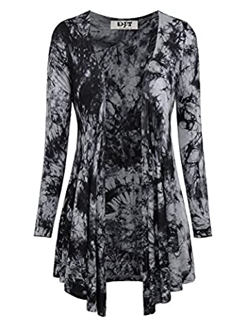 DJT Women Tie Dyed Long Sleeve Stretchy Waterfall Jersey Cardigan Top Dark Grey Small