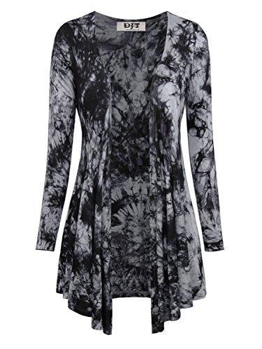 DJT Damen Langarmshirt Tie-Dye V-Neck Strickjacken Jersey Outfit Schwarz-Dunkelgrau S