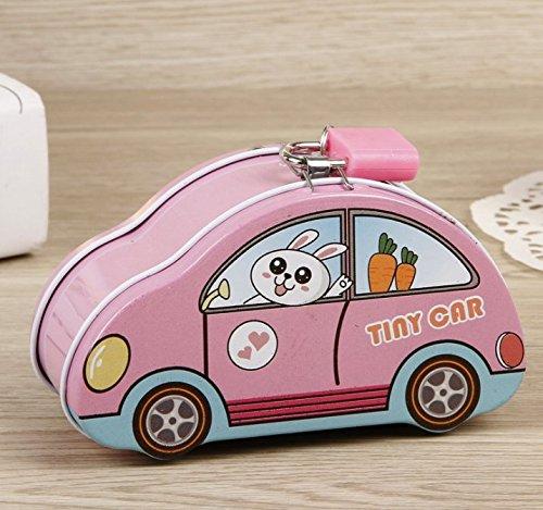 Luxury-uk Caja de Dinero para niños y Adultos Colorful Tiny Car Piggy Bank Caja de Almacenamiento de Lata Creativa (Rosa)