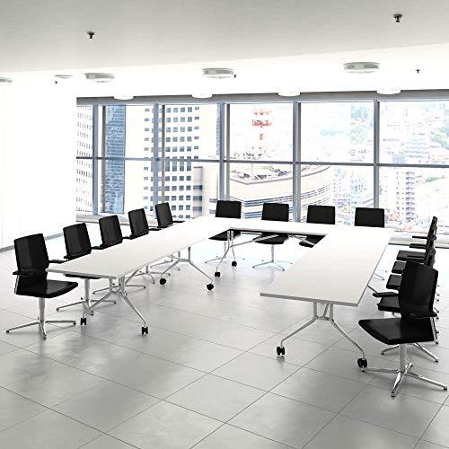 WeberBÜRO Falttisch Klapptisch 2.800 x 1.000 mm Libro Weiß Konferenztisch klappbar rollbar auf Rollen mobil