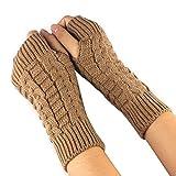 BakeLIN Damen Winter Halb Handschuhe Winter Wärmer Strick Handschuhe Gestrickte Fingerlose Armstulpen Fäustlinge (Kamelfarbe)