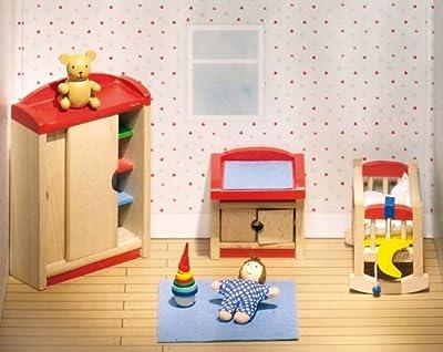 Goki 51905 - Dormitorio de niños para casita de muñecas de 12 piezas de Goki