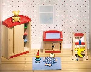 Goki 51905 - Dormitorio de niños para casita de muñecas de 12 piezas