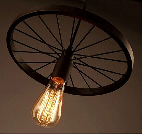 Edison lamp wheel hanging, pendant Vintage industrial loft, E27 Holder, Decorative, Urban Retro style,