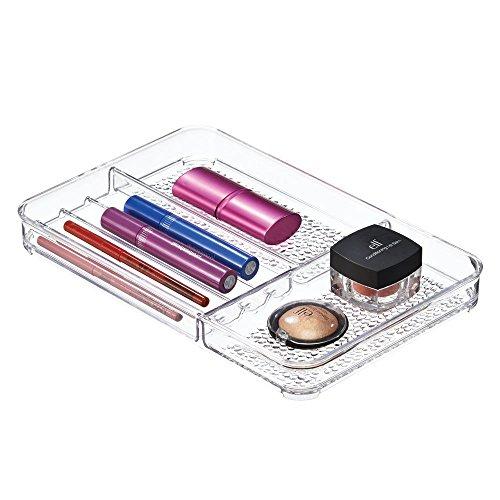 iDesign Rain Kosmetik Organizer, flache Schubladenbox aus Kunststoff, durchsichtig