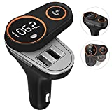 Bluetooth FM Transmitter, Auto Radio Adapter mit 2 USB Ladegerät 5V/3.4A, Freisprecheinrichtung Car Kit, LED Anzeigen, Wireless Audio Transmitter, Musik Spielen für U disk, iPhone8/7/6, iPad, Samsung (C43)