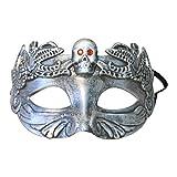 Cikuso Mascara de Esqueleto Calavera de Miedo Fantasma Mascara de craneo de Colmillos Antiguos Fiesta de Cosplay de Halloween (Plata)
