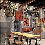Weaeo Benutzerdefinierte Tapete Retro Zahnrad Holzbrett Alphabet Shop Einkaufszentrum Thema Buffet Freizeit Bar Schlafzimmer Tapete-200X140Cm
