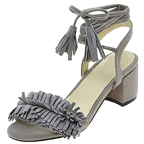 Oasap Women's Open Toe Fringed Chunky Heels Ankle Lace-up Sandals Grey