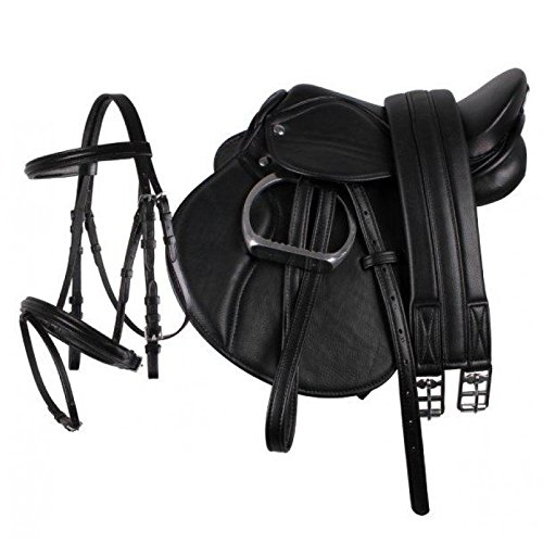 "equipride Pony Power Sattel 33cm \""Kunstleder\"" komplett Set in schwarz, schwarz"