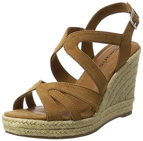 Tamaris Damen 28342 Offene Sandalen mit Keilabsatz Braun NUT