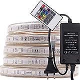 XUNATA 15M 220V RGB 5050 SMD 60leds / m IP67 Wasserdicht,Kein Selbstklebender,Flexibles LED Lichtschlauch mit 20 Key Fernbedienung für Küche Stairway Home Weihnachten Party Deko (15M)