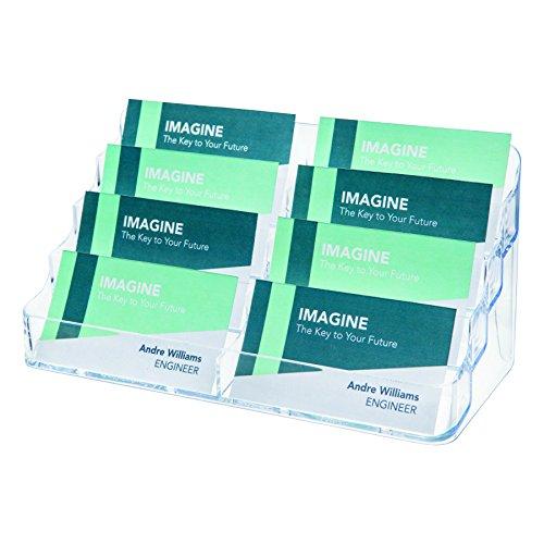 Portabiglietti da visita da tavolo Deflecto - 8 scomparti - 20x9,5x9,8 cm - trasparente - DE70801