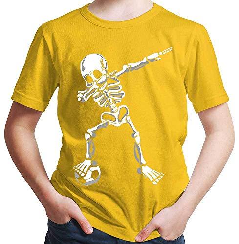 HARIZ  Jungen T-Shirt Dab Skelett mit Fussball Dab Dabbing Dance Halloween Plus Geschenkkarten Gold Gelb 140/9-11 Jahre