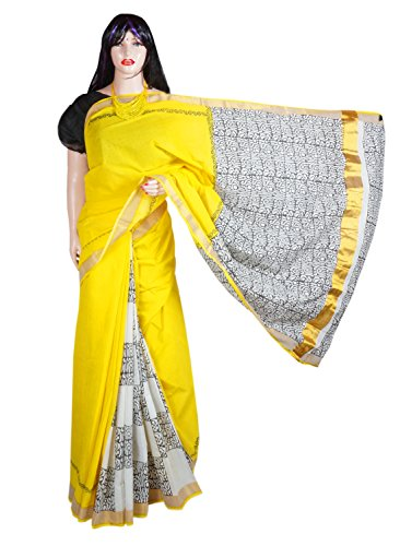 Indian Beauty Boutique Traditional Ethnic Women's Girl's Ladies Kerala Cotton Transparent Desigen Saree Sarees Handloom Work South Indian Saree with Maching Blouse Piece Free Size Saree