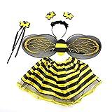 BESTOYARD Kinder Biene Kostüm Set Haarreif Flügel Rock und Zauberstab 4-teiliges Set