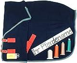 Pahner Abschwitzdecke mit Kreuzgurten, 1 Seite mit Name bestickt (165 cm, Dunkelblau)