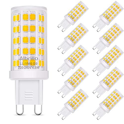 Albrillo 10er Pack 4.5W G9 LED Lampe 500 Lumen, Kein Flackern und 3000K Warmweiß G9 Leuchtmittel Ersatz für 50W Halogenlampe, 360° Abstrahlwinkel, nicht dimmbar