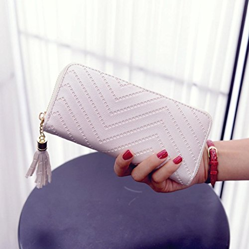 Koly_Le donne del supporto di carta lungo frizione portafoglio nappa della borsa (Vino rosso) Beige