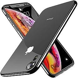 """Benks Funda iPhone XR (6,1""""), Enchapado Funda Slim Fit Protectora Flexible y Ligera [con Soporte de Carga Inalámbrica] [Ultra Fina] y Material TPU Transparente para Apple iPhone XR (2018) - Negro"""