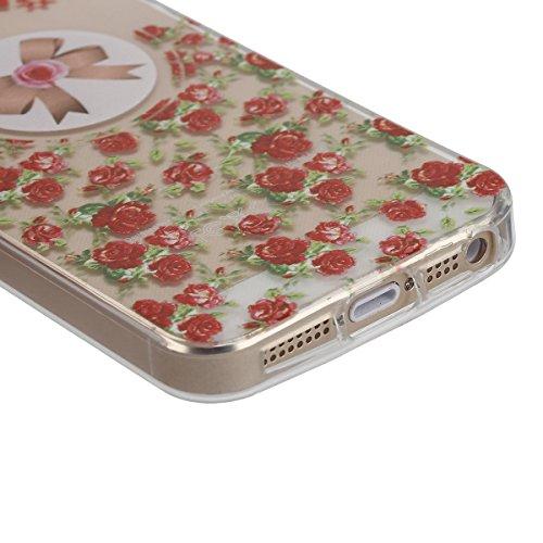 Apple iphone SE Transparent Silikon Case,iphone 5s hülle,Ekakashop Ultra dünn Slim Durchsichtig Transparente Muster Crystal Gel Silikon TPU Motiv Bumper Cas Schutzhülle Etui Tasche Cover Schutz Hüllen Rose Bow