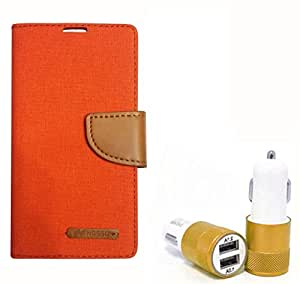 Aart Fancy Wallet Dairy Jeans Flip Case Cover for SamsungA5 (Orange) + Dual USB Port Car Charger with Smartest & Fastest Technology by Aart Store.
