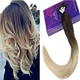 LaaVoo 14' 50Gramme Keratine pure Cheveux Extension Pose a Chaud Remy Hair Ombre Chocolat Brun a Blond #4T60 Brazilian Flat Tip Hair Extensions Naturel
