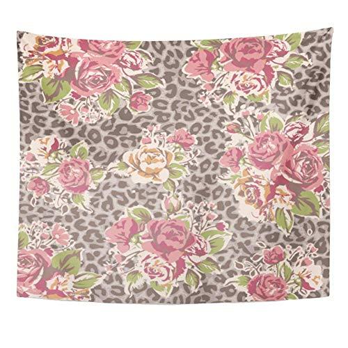 Tapisserie Polyester Stoff Print Home Decor rosa Blume Rose Leopard bunten tropischen Sommer orientalischen abstrakten Akzent Wandbehang Tapisserie Wohnzimmer Schlafzimmer Schlafsaal