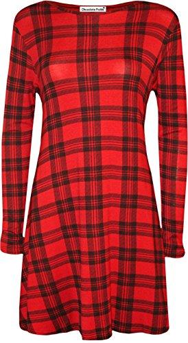 Chocolate Pickle ® Nouveau Femmes Imprimé swing Plus Size manches longues Robe à ourlet Hanky 36-50 Red Tartan