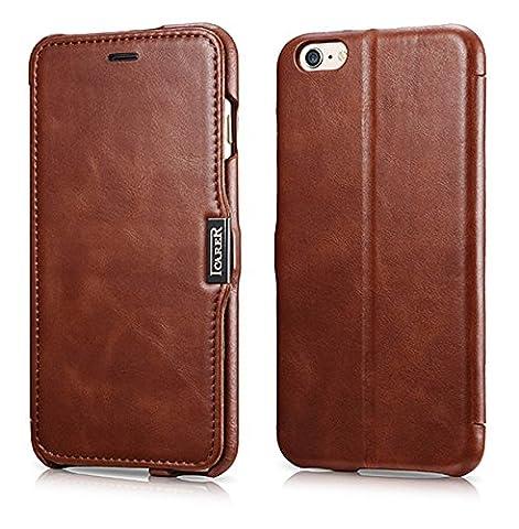 Luxus Tasche für Apple iPhone 6S Plus und iPhone 6 Plus (5.5 Zoll) / Case Außenseite aus Echt-Leder / Innenseite aus Textil / Schutz-Hülle seitlich aufklappbar / ultra-slim Cover / Hülle mit Standfunktion / Vintage Look / Farbe: Dunkel-Braun