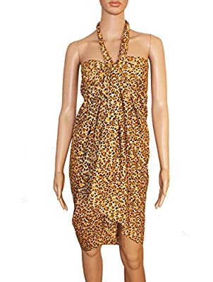 INDIAN FASHION GURU Women's Crepe and Georgette Beach Wear Sarong Swimsuit Cover Up (Multicolour, Free Size)
