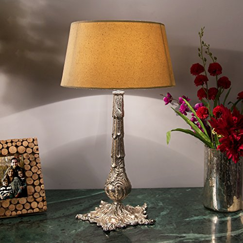 Homesake Victorian Carving Silver Brushed Lamp With Khadi Shade