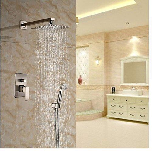 Gowe Wand montiert Nickel Gebürstet Dusche Einheiten Bad Regendusche Set mit Handbrause -
