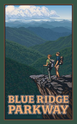 Northwest Art Mall Blue Ridge Parkway Hikers North Carolina Wandschmuck von Paul Leighton, 28 x 43 cm