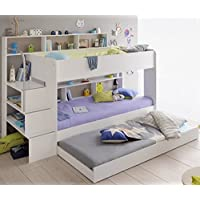 90x200 Kinder Etagenbett Weiß/grau mit Bettkasten Treppe und Geländer preisvergleich bei kinderzimmerdekopreise.eu