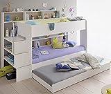 90x200 Kinder Etagenbett Weiß/grau
